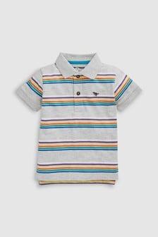 Poloshirt, grau gestreift (3Monate bis 7Jahre)