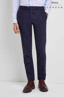 Moss London Skinny Fit Blue Donegal Trouser