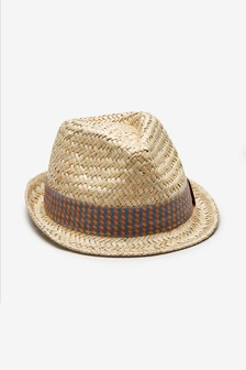 Straw Printed Band Trilby