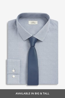 Regular Fit Printed Shirt With Tie
