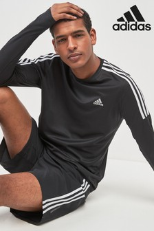 adidas Run Black 3 Stripe Long Sleeved Tee