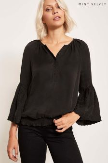 Mint Velvet Black Luxe Embroidered Cupro Top