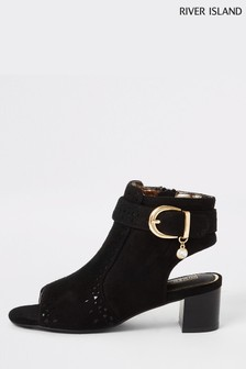 River Island Black Laser Cut Boots