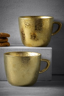 Set of 2 Gold Speckle Mugs