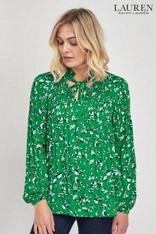 Lauren Ralph Lauren Green Floral Blouse