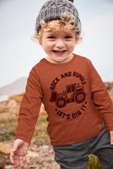 Long Sleeve Digger T-Shirt (3mths-6yrs)