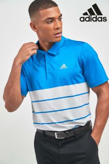 adidas Golf Blue/Grey Ultimate 365 Heather Blocked Polo
