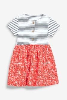 Ditsy Print Mix Fabric Dress (3mths-7yrs)