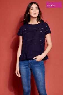 Joules Blue Primrose French Navy Broderie Peplum T-Shirt