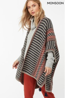 Monsoon Ladies Brown Paloma Pattern Poncho