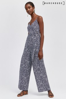 Warehouse Blue Spiral Print O-Ring Wrap Jumpsuit
