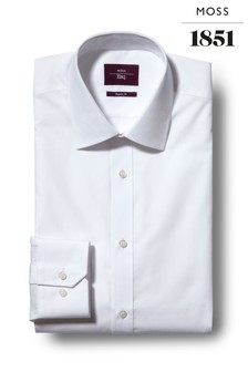 Moss Esq Regular Fit White Single Cuff Easy Iron Shirt