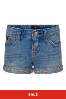 Ralph Lauren Kids Girls Blue Cotton Shorts