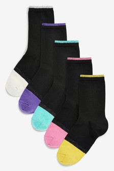 Colourblock Heel And Toe Ankle Socks Five Pack