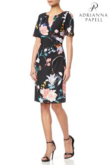 Adrianna Pappel Black Zen Blossom Tucked Sheath Dress