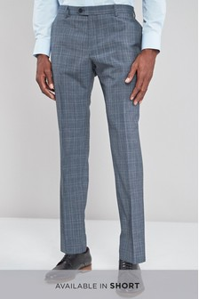Wool Blend Check Suit: Trousers
