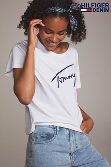 Tommy Jeans White Satin Tee