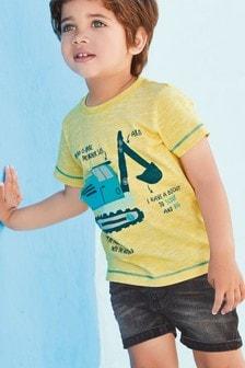 T-Shirt mit interaktivem Baggermotiv (3Monate bis 7Jahre)