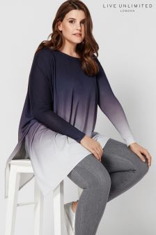 Live Unlimited Grey Ombre Poncho Top