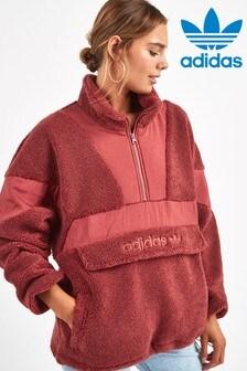 חולצה עם 1/4 רוכסן של adidas Originals דגם Sherpa באדום צרוב