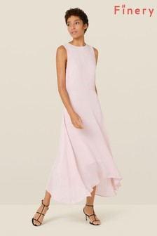 Finery London Pink Ashley Dipped Hem Dress