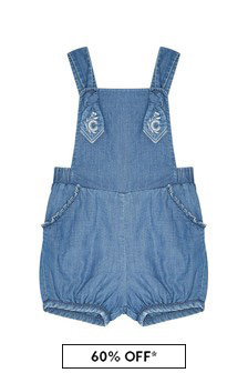 Girls Blue Cotton Dungarees