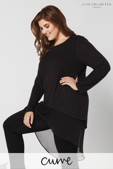 Live Unlimited Black Knit  Chiffon Layered High Low Top