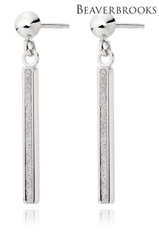 Beaverbrooks 9ct White Gold Glitter Drop Earrings