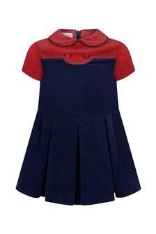 Baby Girls Navy Corduroy Dress