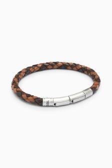 Fossil™ Leather Weave Bracelet