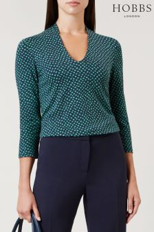 Hobbs Green/Navy Aimee Printed Top