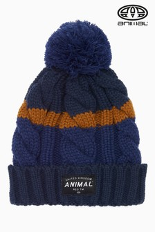 Animal Deep Blue Knitted Bobble Beanie