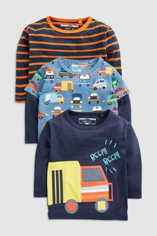 Long Sleeve Truck T-Shirts Three Pack (3mths-7yrs)