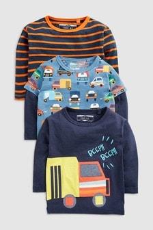 Набор из трех футболок с длинным рукавом и рисунком грузовиков (3 мес.-7 лет)