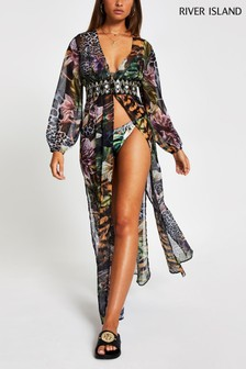 River Island Black Jungle Floral Embellished Beach Kaftan