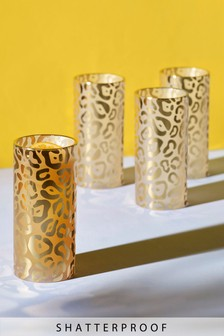 Set of 4 Metallic Animal Print High Ball Glasses