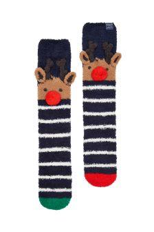 Joules Reindeer Character Fluffy Socks