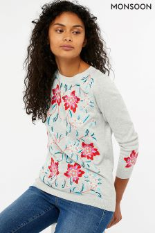 Monsoon Grey Megan Floral Embroidery Jumper