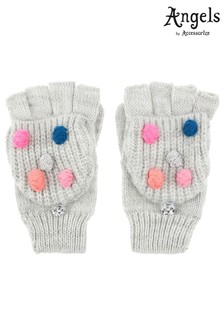 Angels by Accessorize Grey Pom Pom Capped Mitten