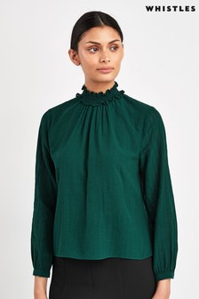 Whistles Green Stripe High Neck Blouse