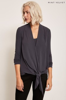 Mint Velvet Grey Wrap Front Top