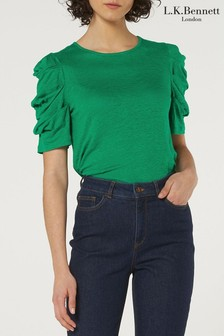 L.K.Bennett Green Rain 3/4 Sleeve Cotton Top