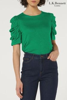 L.K.Bennett Green Rain 3/4 Sleeve Cotton Top