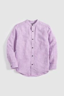 Рубашка в клетку с длинным рукавом из льняной ткани (3-16 лет)