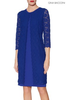 Gina Bacconi Blue Kimora Scallop Lace Crepe Dress