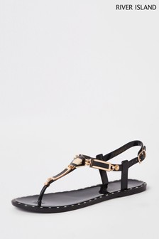 River Island Black Hardware Jelly Sandal