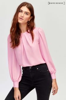 Warehouse Bright Pink Pleat Neck Long Sleeve Top