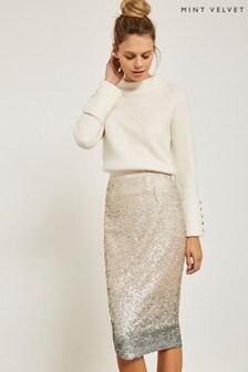 Mint Velvet Natural Sequin Skirt