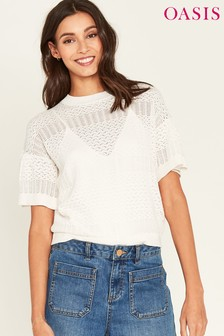 Oasis White Pointelle Knit