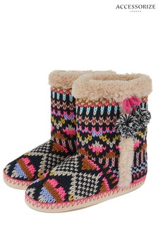 Accessorize Cream Frosty Fairisle Pattern Slipper Boot